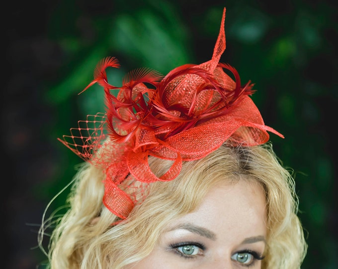 Feather fascinator hat, summer wedding accessories