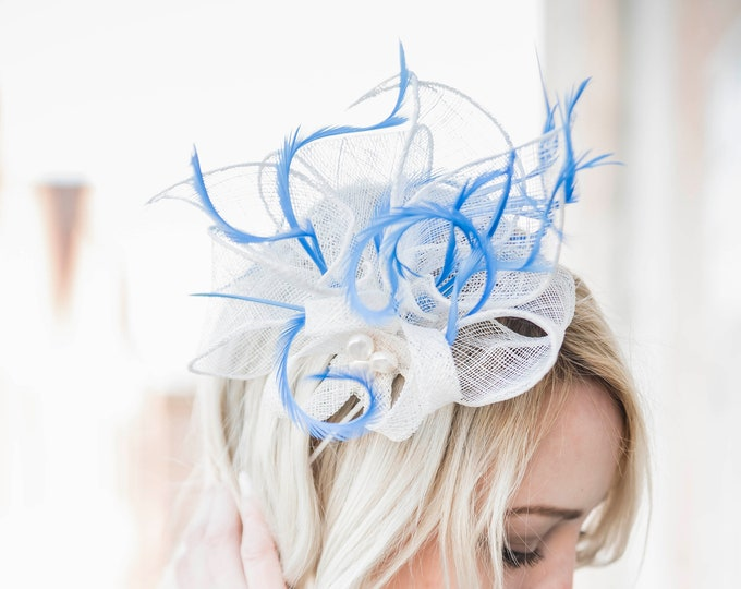 White feathers fascinator hat bridal headpiece