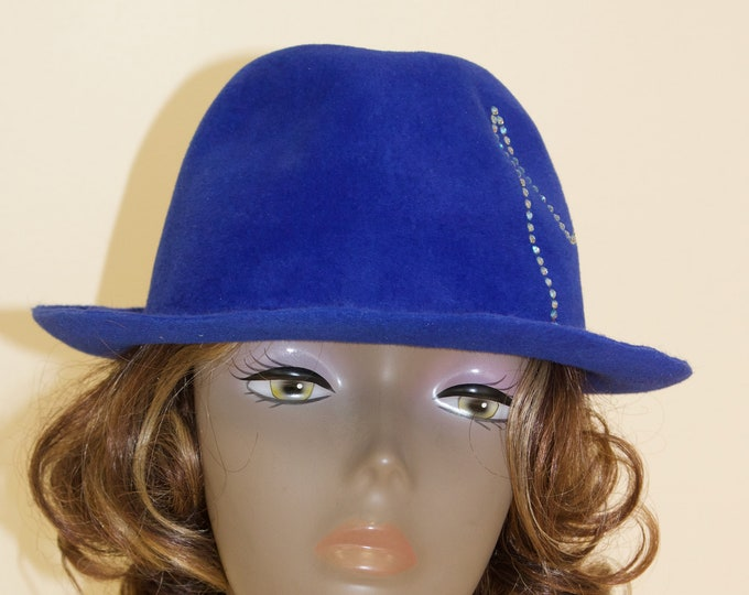 Women Royal Blue Trilby Hat