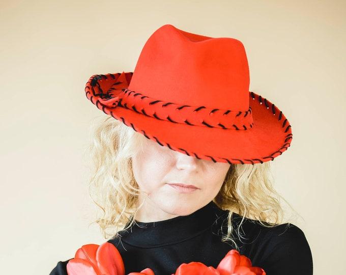 Women hat, felt hat, red fedora