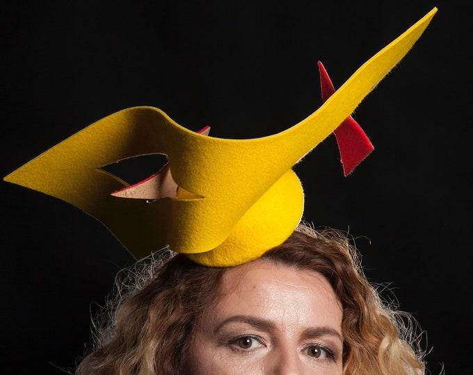 Unique Fascinator Hat Yellow and Red Furfelt and Cork Fabric Designer Headpiece Headwear Headgear Pillbox Hat Hatinator