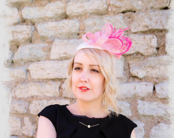 Pink straw pillbox hat