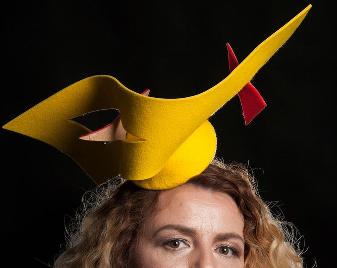 Felt fascinator hat, Cork leather pill box hat