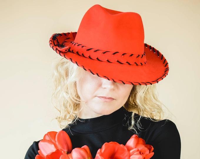 Felt fascinator hat, women fedora hat