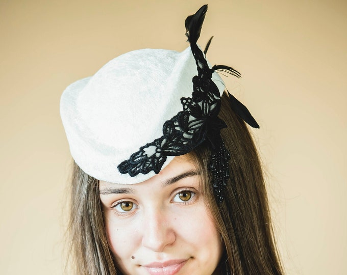 Pill box fascinator hat, mother of bride headpiece