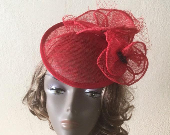 Red Fascinator Hat Sinamay Saucer Percher Royal Ascot Headpiece Headwear Summer Wedding Headgear