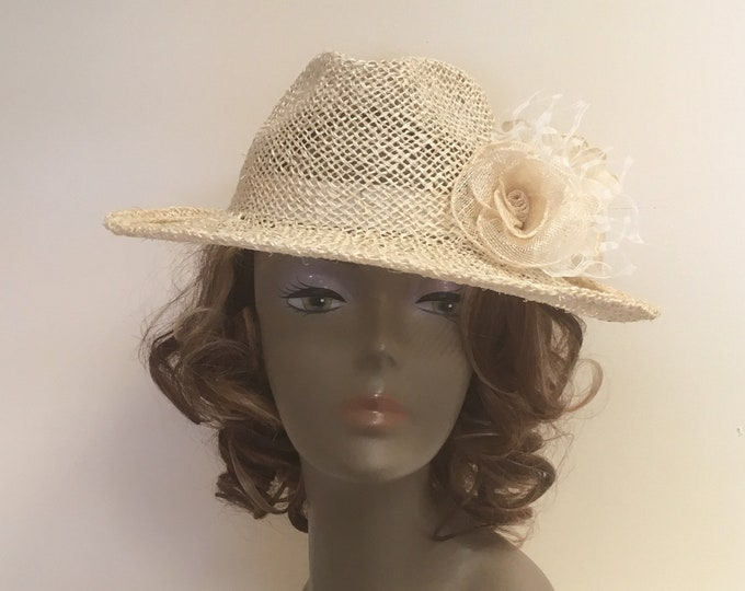 Summer fascinator hats, women straw fedora