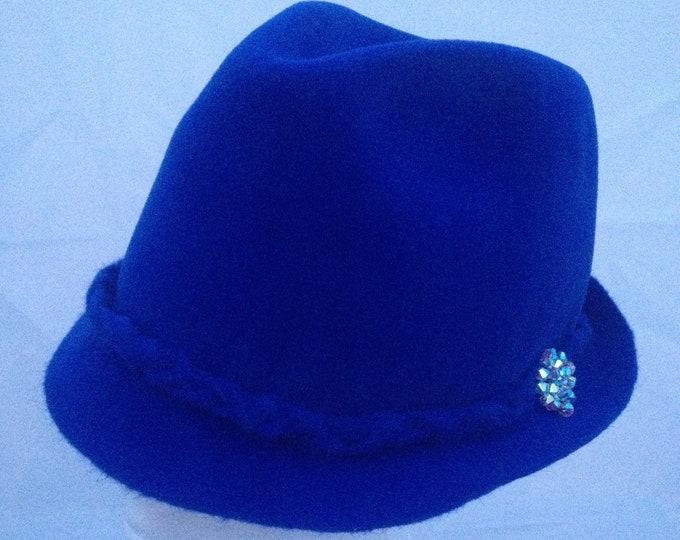 Fur felt Trilby Hat Royal Blue Furfelt Autumn Winter Custom Hair Accessories Handmade Millinery Fedora Swarovski Crystals Headwear Headpiece
