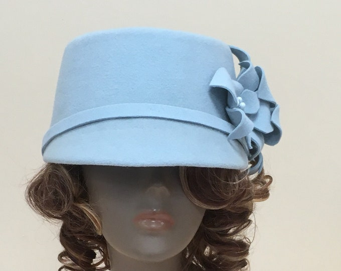 Women felt hat, stylish cap with flowers