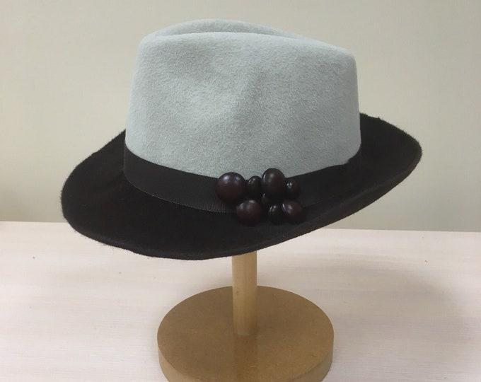 Wide brimmed women hat, fedora fascinator hat