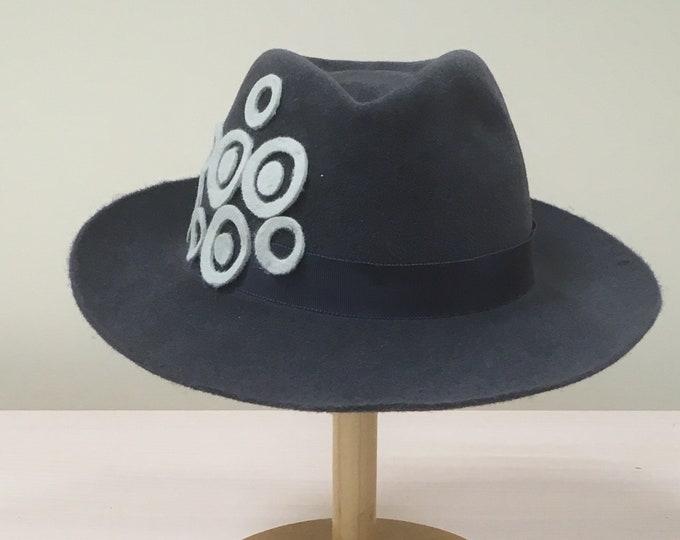 Fur Felt Dark Grey Fedora Hat Couture Casual Headpiece Winter Autumn Headgear Headwear