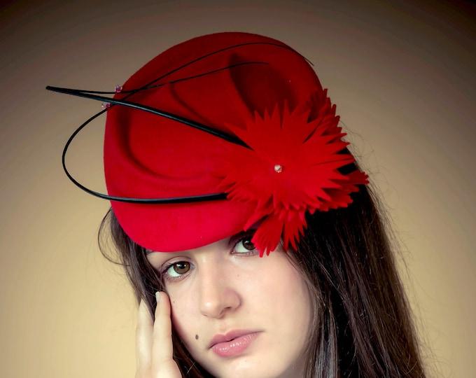 Cocktail fascinator hat, fur felt women hat