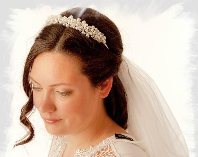 Bridal tiara hair comb wedding headpiece