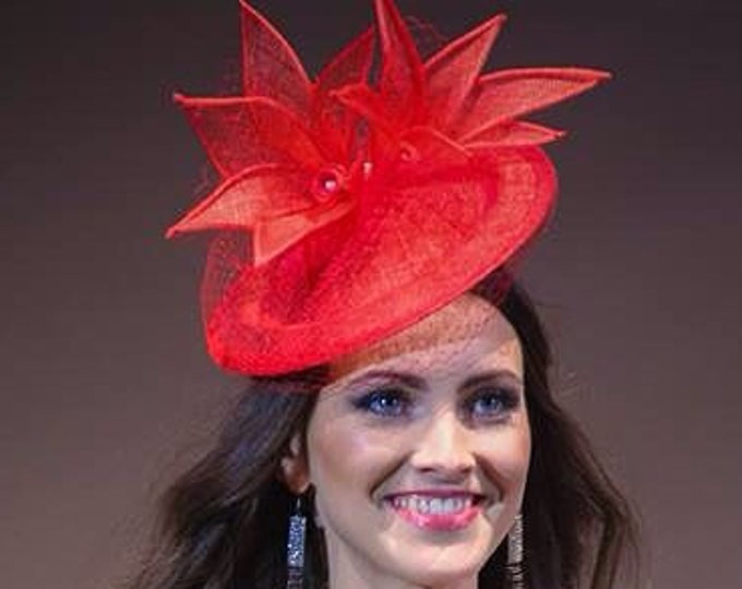 Bespoke Fascinator Hat Red Sinamay Saucer Cocktail Headpiece millinery for Royal Ascot, Derby Kentucky, Wedding Percher