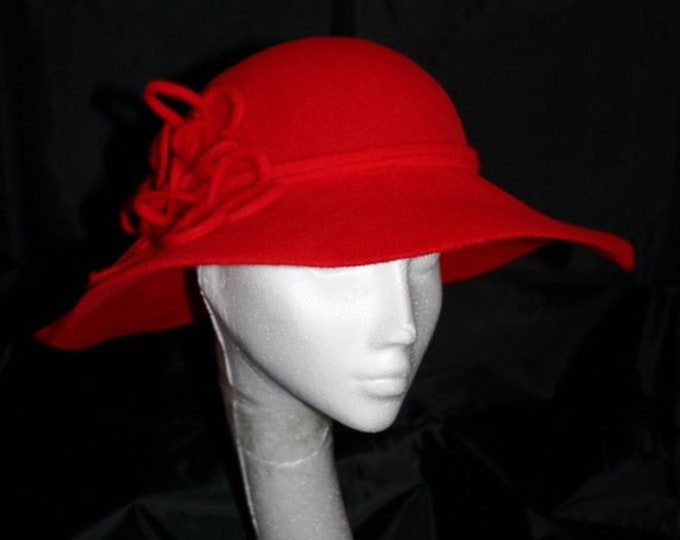 Red Velour Fedora Trilby Floppy Hat