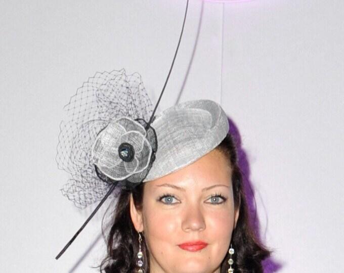 Statement Fascinator Headpiece Pillbox Hat Silver Grey Sinamay Handmade Handcrafted Millinery
