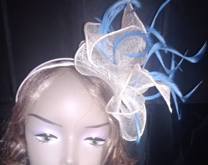 White sinamay and Royal Blue feathers Fascinator Mini-hat millinery hat wedding accessory