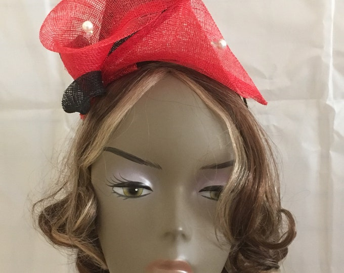 Red and Black sinamay Fascinator hat with calla flowers millinery mini-hat wedding accessory headband
