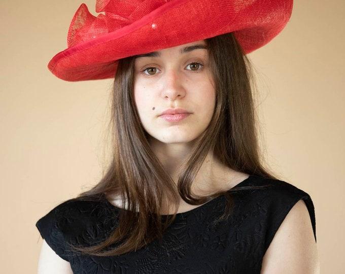 Red fascinator hat, mother of the bride, groom hat, wedding headpiece