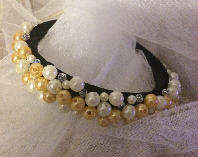 READY TO SHIP White and Gold beaded velvet headband hair accessories tiara wreath hairband