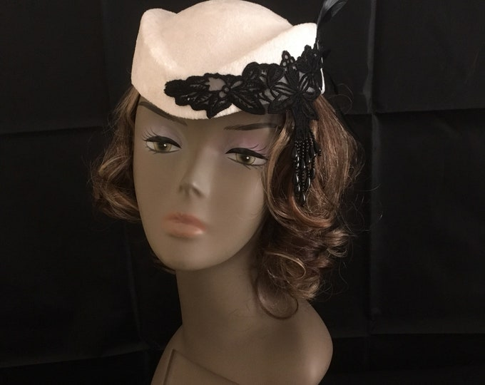 Retro Style Pillbox Hat White Velvet Fascinator Wedding Headpiece Air Hostess Air Steawardess