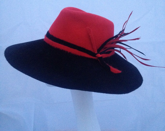 Casual Fur Felt Fedora Black and Red Wide Brim Hat Handmade Millinery Autumn Winter Season