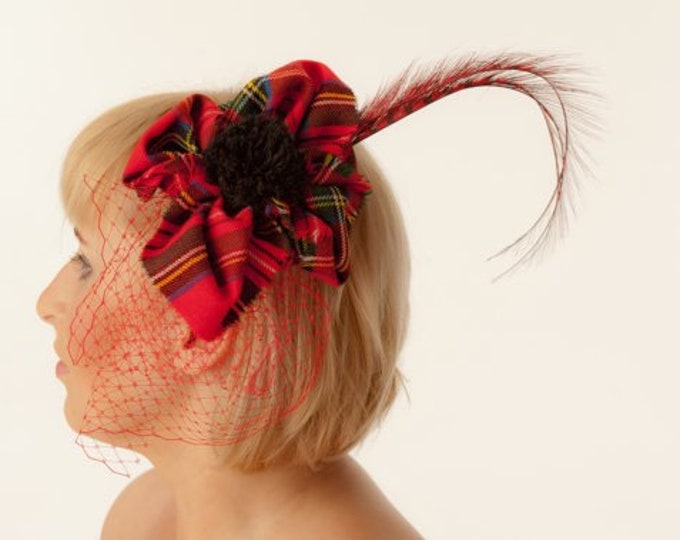 Tartan Fascinator Cocktail hat millinery Royal Steward tartan pillbox headpiece