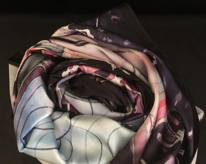 Silk printed scarf shawl cravat babushka stole square neck scarf,  women silk scarf  gifts for her