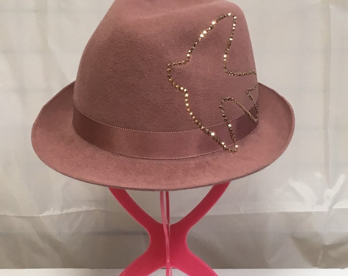 Classic Trilby Hat Old Rose Furfelt Women Fedora Autumn Winter Hair Accessories Handmade Millinery Swarovski Crystals Headwear Headpiece