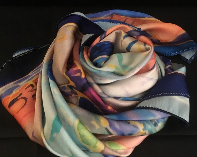 Silk printed scarf shawl cravat babushka stole square neck scarf,  women silk scarf  gifts for her