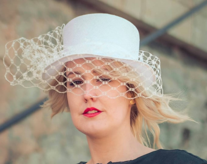 White tophat, fascinator hat, bridal headpiece