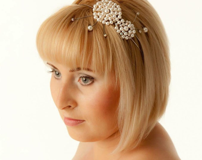 Wedding Tiara Hairband Bridal Diadem Hair Vine with Swarovski Crystals and Pearls