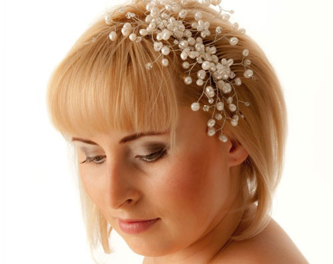Bridal Tiara Swarovski Elements Pearls Wedding Hair Vine Comb Diadem Headband