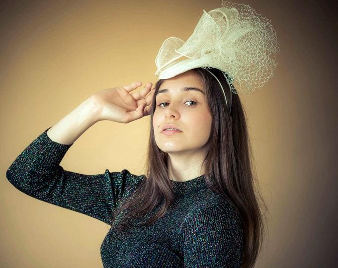 Ivory pillbox fascinator hat bridal headpiece