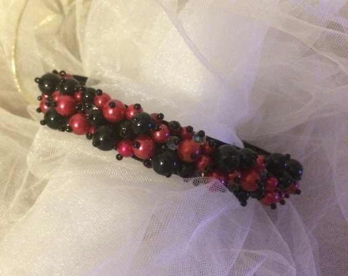 READY TO SHIP Black and Red beaded velvet headband hair accessories hairband alice band kids accessory