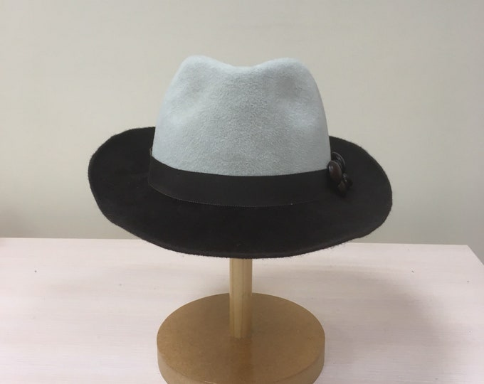 Fur Felt Beige Chocolate Fedora Hat Couture Casual Headpiece Winter Autumn Headgear Headwear