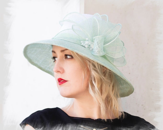Mother of bride fascinator hat, cocktail wide brimmed hat