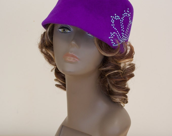 Furfelt Winter Hat Purple Cap Handmade Millinery Violet Women Autumn Custom Hair Accessories Headwear Headpiece