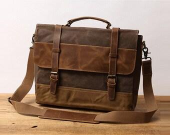 ab13609dd Best man Gift Personalized Handmade Waxed Canvas Handbag Waterproof  Briefcase Messenger Bag Men Leather Shoulder Bag School Laptop Bag