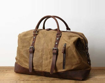 Handmade Distressed Leather Water Proof Waxed Canvas Duffel Bag Weekend Bag  Overnight Bag Holdall Luggage Bag Travel Bag Carryon Duffle Bag 1179104327c
