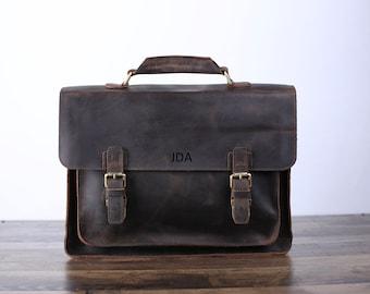 9a1bb14a1234 Personalized Handmade Vintage Leather Handbag Briefcase Messenger Bag Men  Leather Shoulder Bag School Laptop Bag Valentine s day Best Gift