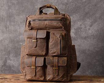 cd61a16435 Handmade Waxed Canvas Backpack Men Rucksack Travel Backpack Waterproof  Backpack Laptop Backpack Water proof Hiking Backpack Christmas Gift