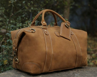 Handmade Full Grain Distressed Leather Duffel Bag Weekend Bag Overnight Bag  Holdall Luggage Bag Travel Bag Small Carryon Holiday Duffel d821ffed44c71