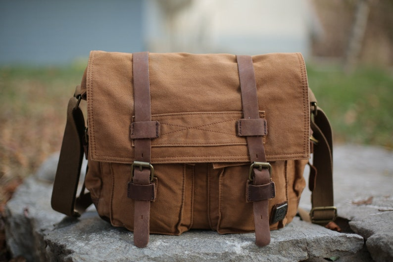 0e7755a3b5 Handmade Canvas Messenger Bag with Leather Straps Canvas
