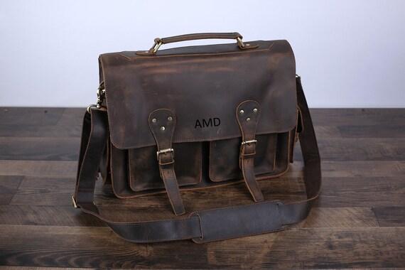 610b91b3808 Handmade Full Grain Rustic Leather Messenger Bag Leather   Etsy