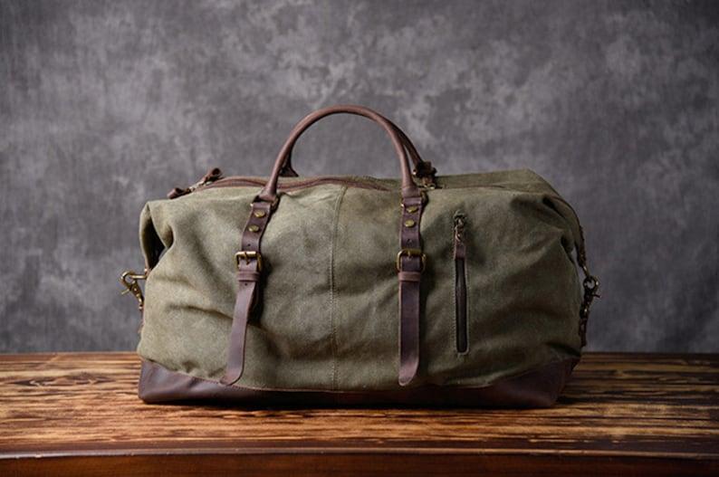 f9d2572657ad Distressed Leather Canvas Duffel Bag Man Travel Bag Weekender