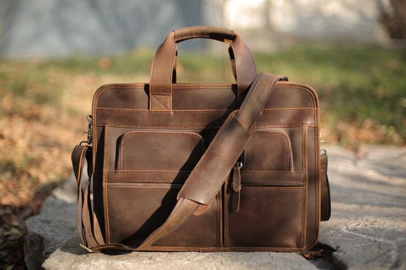 2fba4aecfda5 Personalized Full Grain Distressed Leather Briefcase Men