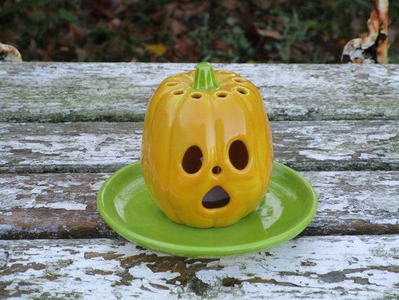 Dekoration Windlicht Keramik Kürbis Deko Halloween Herbstdeko Teelicht Herbst