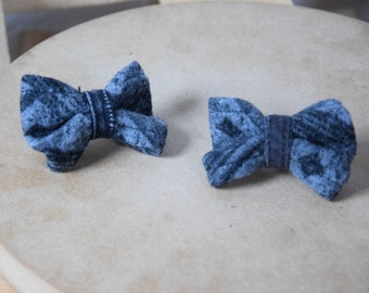 Handmade hair bows (grey), hairclips, upcycling, gift ideas for girls