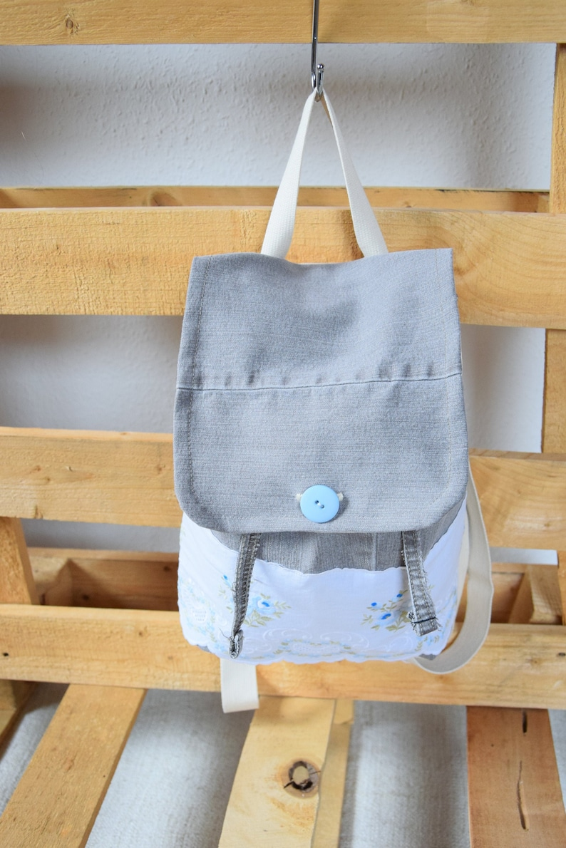 recycled handmade denim backpack grey backpack design with lace Small
